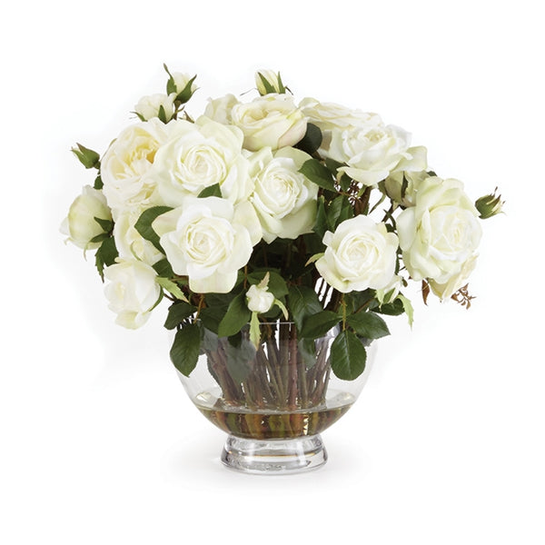 Barclay Butera Garden Rose Arrangement in Vase 17.5″ CC264