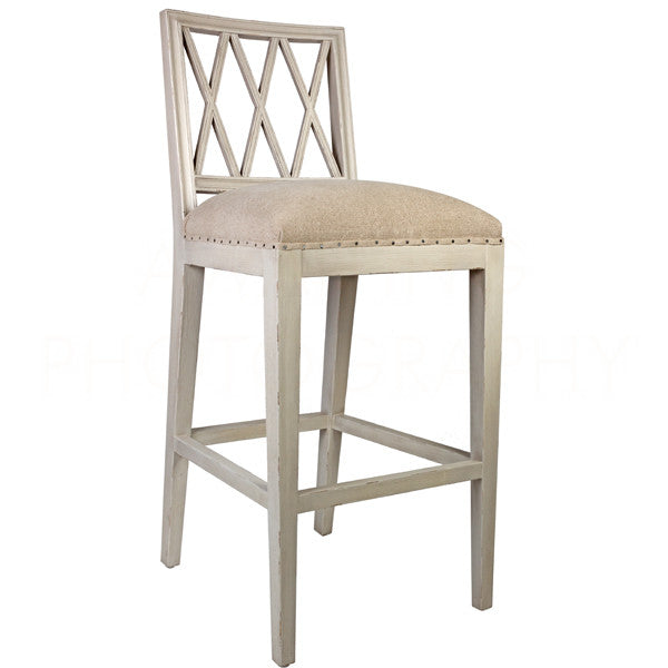 Aidan Gray Swedish Bar Stool Antique Gray and Washed Textured Linen CH657