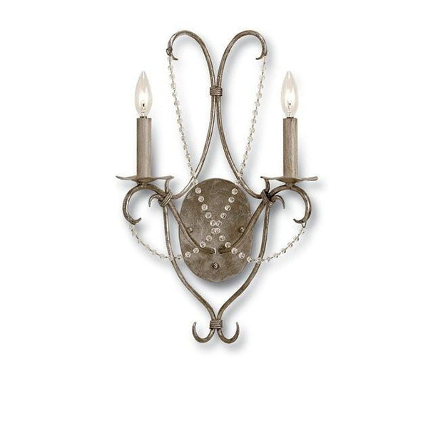 Currey and Company Crystal Lights Wall Sconce Silver 5980