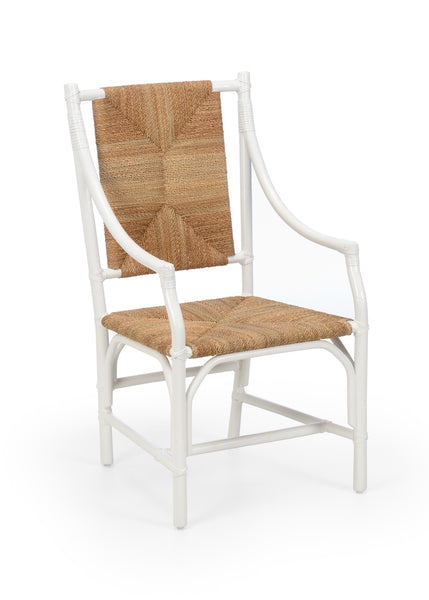 Lovecup White Rattan Dining Arm Chair With Natural Rush Seat L717