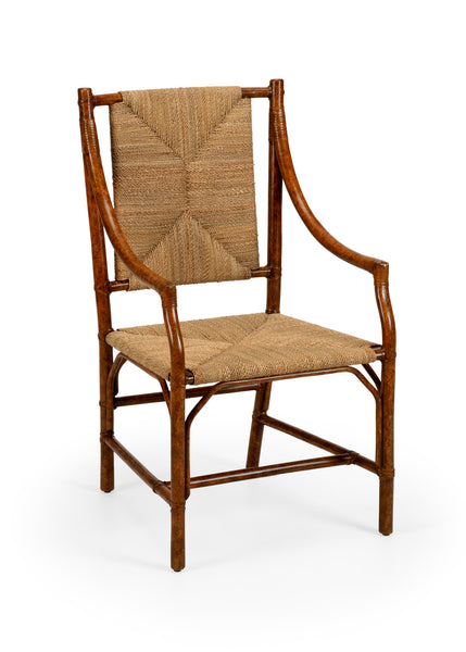 Lovecup Mottled Brown Rattan Dining Arm Chair L592