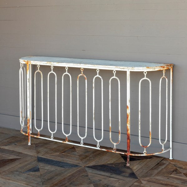 Lovecup Aged Metal and White Console L013