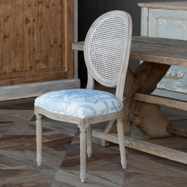 Lovecup French Blue Cane Back Dining Chair L589