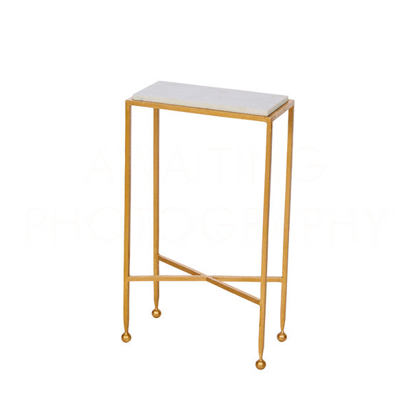 Aidan Gray Chino Side Table in Gold with Marble Top F215 GLD