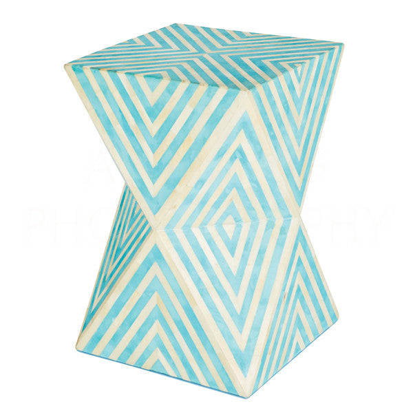 Aidan Gray Bay Blue Argyle Side Table Stool F377
