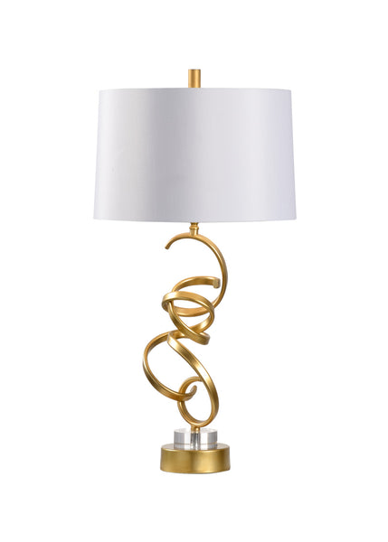 Chelsea House Swirl Gold Table Lamp with USB Port 69408