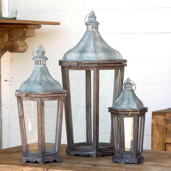 Lovecup Metal and Wood Candle Lanterns L7724