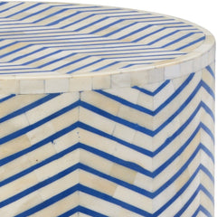 Blue Herringbone Pattern Side Table - LOVECUP - 2
