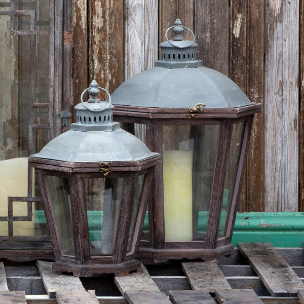 Lovecup Rustic Candle Lanterns Set of 2 L296
