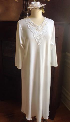Danielle is one of the most elegant night gowns  I have designed!  Exquisite venice lace enhances the necklline