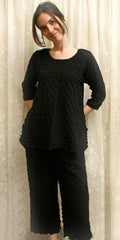 3/4 Sleeve Top & Palazzo Pants Cotton Knit Pajamas Waffle Fabric