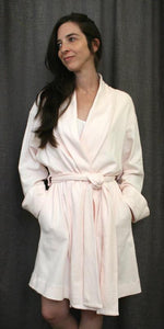 Soft Cotton Shawl Collar Knee Length Robe with Tie Around the Waste, 100% Cotton Knit Check Texture, Made In The USA by Simple Pleasures Inc.