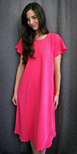 Hot Pink Short Sleeve 3/4 Length Gown Interlock Collection - Simple Pleasures, Inc.