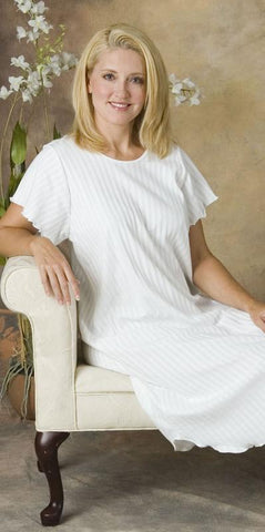 Short Sleeve 3/4 Length Nightgown with Lettuce Edge Trim, 100% Cotton Knit Shadow Stripe