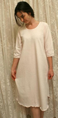 3/4 Sleeve Cotton Knit Nightgown Dot Fabric Made In The USA