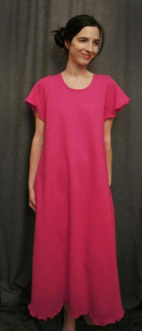 Hot Pink Short Sleeve Long Gown Cotton Knit By Simple Pleasures Inc.