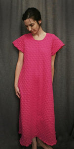 Short Sleeve Long Gown Hot Pink Waffle, Cotton Knit by Simple Pleasures Inc.
