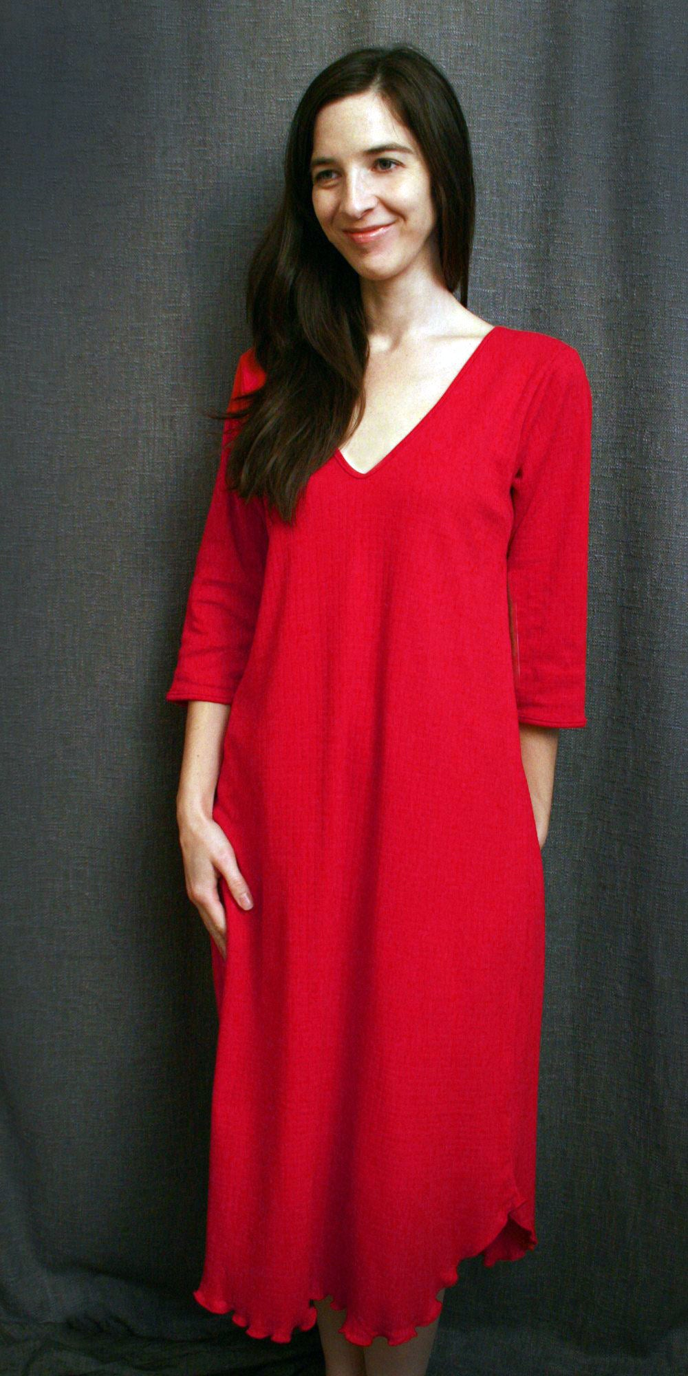 Vibrant Brights V Neck 3/4 Sleeve 3/4 Length Gown Check Collection Cherry Red