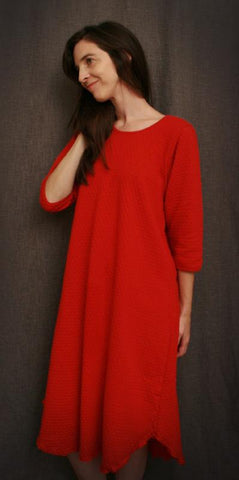 Red 3/4 Sleeve 3/4 Length Nightgown, 100%Cotton Knit Dot Fabric, Made in the USA by Simple Pleasures, Inc.
