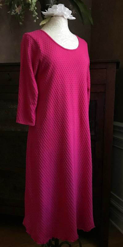 Vibrant Brights 3/4 Sleeve 3/4 Length Gown Dot Collection Hot Pink