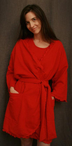 Cherry Red Short Wrap Robe Dot Collection - Simple Pleasures, Inc.