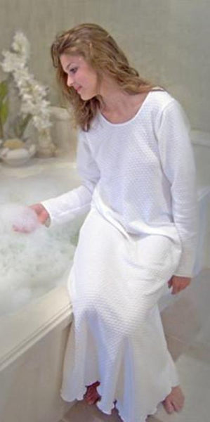 Long Sleeve Scoop Neck Nightgown Cotton Knit Dot Fabric, Made In The USA by Simple Pleasures Inc.