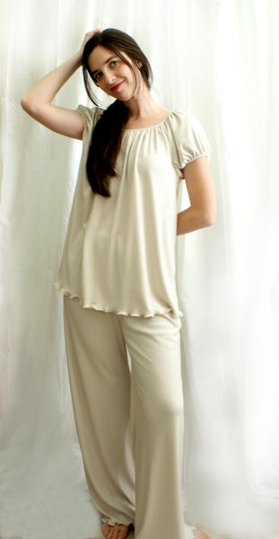 Short Sleeve Raglan Top & Pajamas, Supima Cotton/Micro Modal, Made In The USA by Simple Pleasures Inc.
