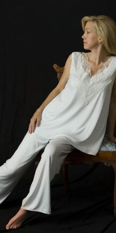 Sleeveless Supima Cotton Top & Long Pajamas with lace overlay, Made In The USA by Simple Pleasures Inc.
