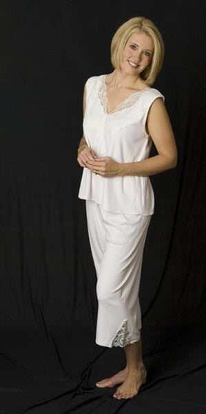 Olivia Sleeveless Top & Palazzos, V Neck Supima Cotton with Lace Overlay, Made In The USA by Simple Pleasures Inc.
