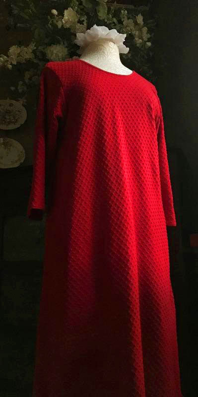 Vibrant Brights 3/4 Sleeve 3/4 Length Gown Dot Collection CHERRY RED