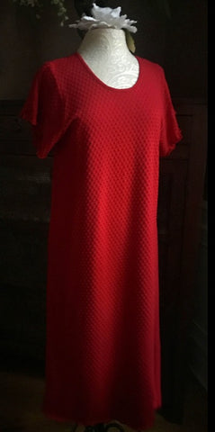 Vibrant Brights Short Sleeve 3/4 Length Gown Dot Collection CHERRY RED