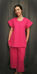 Hot Pink Short Sleeve Long Top & Palazzos Waffle Collection - Simple Pleasures, Inc.