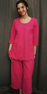 Hot Pink 3/4 Sleeve Top & Palazzos Cotton Dot