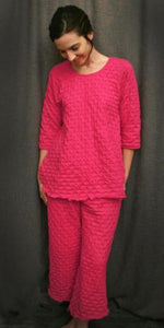 3/4 sleeve top and palazzo pajama pants cotton waffle, Hot Pink