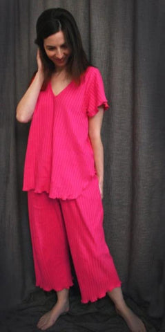 Hot Pink V Neck Short Sleeve Long Top & Palazzos Shadow Stripe Collection