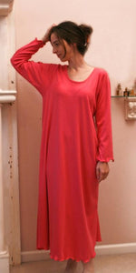 Paradise Pink Long Sleeve Long Gown, Soft  Cotton Interlock