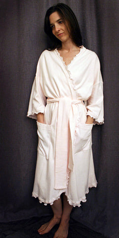 3/4 Length Wrap Robe Check Collection