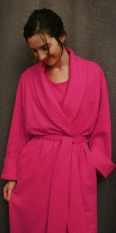 Hot Pink Short Shawl Collar Robe Dot Collection - Simple Pleasures, Inc.