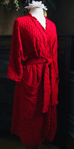 Night & Day Basics 3/4 Length Wrap Robe CHERRY RED