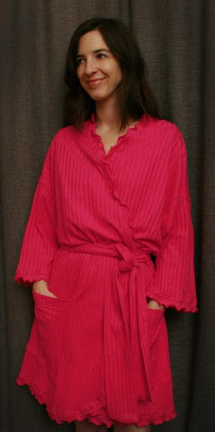 Short Cotton Wrap Robe, Hot Pink Shadow Stripe, Made In The USA by Simple Pleasures Inc.