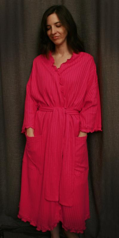 Hot Pink Cherry Red 3/4 Length Wrap Robe Shadow Stripe Collection - Simple Pleasures, Inc.