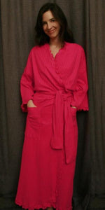 Hot Pink Long Wrap Robe Shadow Stripe Collection - Simple Pleasures, Inc.