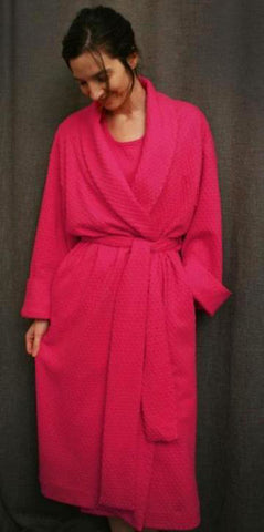 Hot Pink 3/4 Length Shawl Collar Robe Dot Collection
