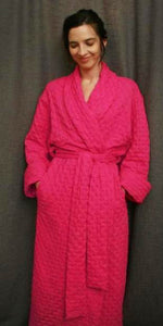 Hot Pink 3/4 Length Shawl Collar Robe Waffle Collection