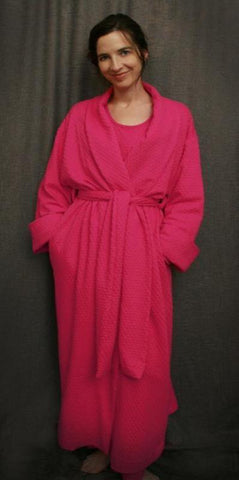 Hot Pink Long Shawl Collar Robe Cotton Dot, by Simple Pleasures Inc.