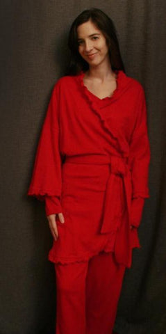 Cherry Red Short Wrap Robe Check Collection - Simple Pleasures, Inc.