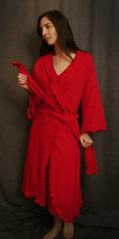 Cherry Red Ballet Length Wrap Robe 100%Cotton Knit Check Fabric, by Simple Pleasures, Inc.