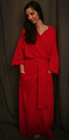 Long Wrap Robe Cherry Red Cotton Knit, Made In The USA by Simple Pleasures, Inc.