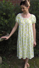 Raglan Nightgown with Daisy Print, Supima Cotton, Ballet Length, Made In The USA by Simple Pleasures Inc.