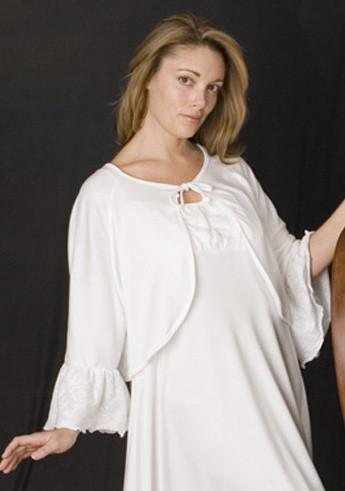 Sarah Bed Jacket With Ruffle Sleeve